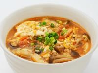 Bカキとキムチのスープご飯(胡麻辛鍋の素)